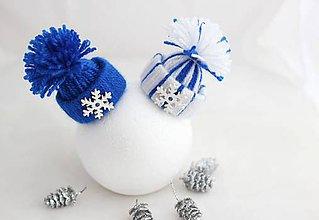 Dekorácie - Vianočné čiapočky v modrom - 7260381_