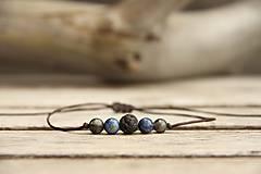 Šperky - Náramok na šnúrke lapis, láva a labradrit - 7258918_