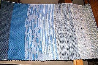Úžitkový textil - Tkaný modrý melírovaný koberec - 7259428_