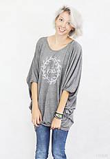 Tričká - Dámske tričko sivé BAMBUS 04 biela potlač LOVED - 7259819_