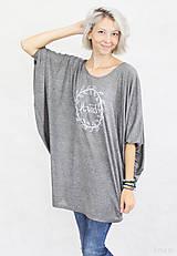 Tričká - Dámske tričko sivé BAMBUS 04 biela potlač LOVED - 7259820_