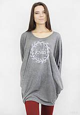 - Dámske tričko sivé BAMBUS 04 biela potlač LOVED - 7259822_