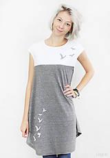 Tričká - Dámska tunika sivo-biela BAMBUS 07 potlač VTÁKY - 7260154_