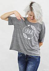 Tričká - Dámske tričko sivé BAMBUS 02 potlač TRPEZLIVÁ LÁSKA - 7261626_