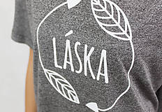 Tričká - Dámske tričko sivé BAMBUS 02 potlač TRPEZLIVÁ LÁSKA - 7261628_