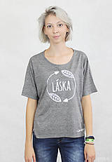 Tričká - Dámske tričko sivé BAMBUS 02 potlač TRPEZLIVÁ LÁSKA - 7261630_