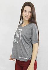 Tričká - Dámske tričko sivé BAMBUS 02 potlač TRPEZLIVÁ LÁSKA - 7261632_