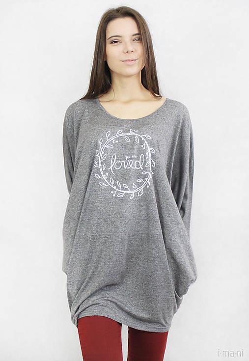 Dámske tričko sivé BAMBUS 04 biela potlač LOVED
