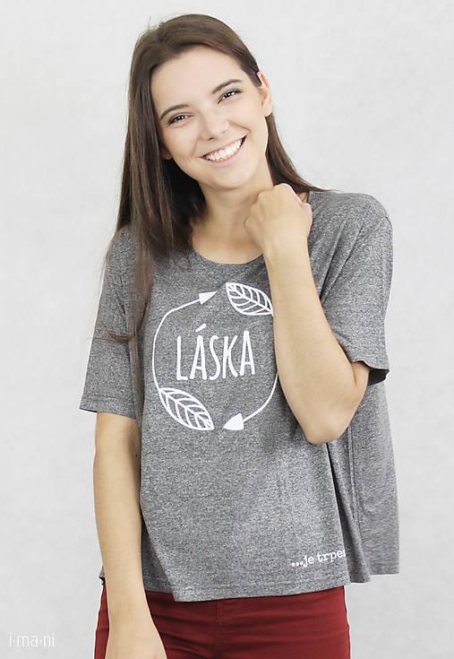 Dámske tričko sivé BAMBUS 02 potlač TRPEZLIVÁ LÁSKA