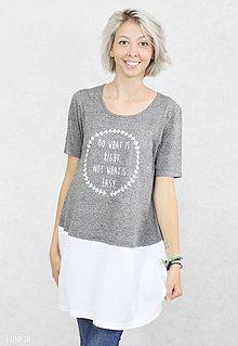 Tričká - Dámske tričko sivo-biele BAMBUS 05 biela potlač RIGHT - 7260188_