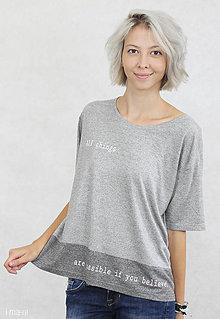 Tričká - Dámske tričko sivé BIO BAMBUS 02 potlač BELIEVE - 7261685_