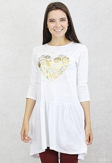 Tričká - Dámske tričko biele BAMBUS 03 zlatá potlač VNL - 7261733_