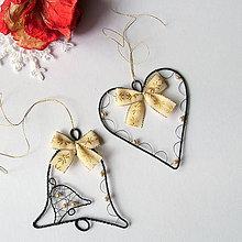 Dekorácie - sada srdiečko a zvonček v zlatom s perličkami - 7262650_