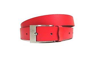 Opasky - Úzky červený kožený opasok - 7263143_