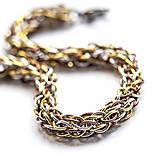 Náramky - Spletenec v barvách tří kovů - náramok - 7263811_