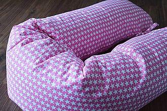 Úžitkový textil - Medzinožník / podkova na dojčenie ružové hviezdy - 7264628_