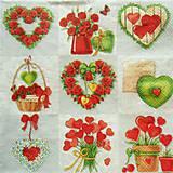 Papier - S819 - Servítky - srdce, ruža, venček, láska, love - 7264286_