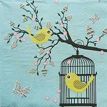 Papier - S815 - Servítky - vtáčik, klietka, halúzka, motýľ - 7263681_