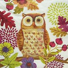 Papier - S816 - Servítky - sova, listy, owl, jeseň, dub - 7263700_
