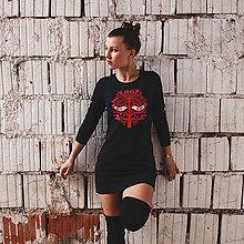 Šaty - Tričkošaty Lady folk in black (dlhý rukáv) - 7263464_