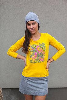 Šaty - Tričkošaty Pink birds (dlhý rukáv) - 7263472_
