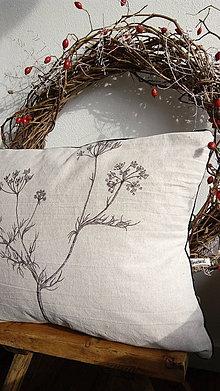 Úžitkový textil - Vankúš s ručnou perokresbou - kmín - 7264045_