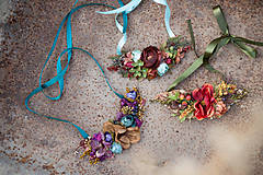Náhrdelníky - Kvetinový náhrdelník v zemitých farbách
