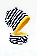 Detské súpravy - Bavlnená súprava prúžok navy & žltá- obojstranná - 7266784_