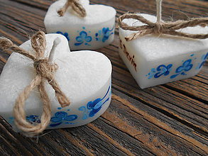 Darčeky pre svadobčanov - srdiečko folklór s kartičkou/modrý ornament - 7266883_