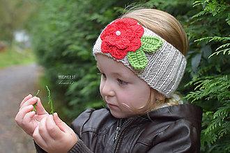 Detské čiapky - Pletená čelenka proti vetru...