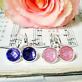Náušnice - Violet & Soft Pink Crystals Earrings / Trblietavé náušnice - 7267035_