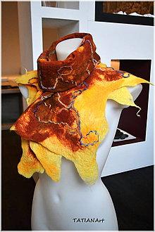 Šály - Plstený extravagantný šál v žltej a hnedej - 7267594_