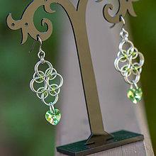 Náušnice - Rudolfína - limetkově zelené náušnice - 7270925_