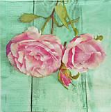 Papier - S822 - Servítky - ruža, rose, tyrkys, vintage - 7267716_