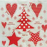 - S829 - Servítky - vianoce, stromček, srdce, hviezda, bodky - 7269311_