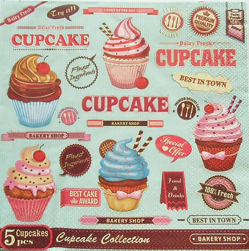 S823 - Servítky - cupcake, muffin, koláčik, cake