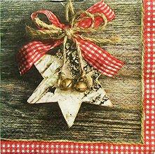 Papier - S827 - Servítky - hviezda, mašľa, vianoce, rolničky - 7268794_