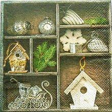 Papier - S832 - Servítky - búdka, domček, sane, hviezda, ihličie, srdce, darček - 7269972_