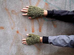 Rukavice - Rukavice zelenohnedé s hráškovým vzorom - 7268928_