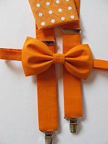 Doplnky - Pánsky motýlik, traky a vreckovka- orange set - 7267109_