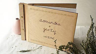 Papiernictvo - Svadobná kniha drevo, papier a koža - 7269684_