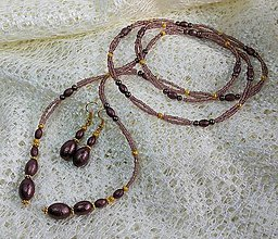 Sady šperkov - -50% SET Náhrdelník + náušnice BROWN PEARL - 7268273_