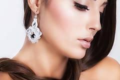 Náušnice - Svadobné soutache náušnice - skladom v bielej - 7270689_