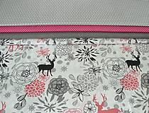 Textil - Látka jeleni a kvety  165 x 140 cm - 7267845_