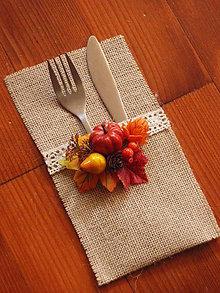 Úžitkový textil - Jesenný obal na príbory - 7267497_