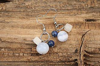 Náušnice - Náušnice chalcedón, lapis lazuli a kryštáľ - 7274116_