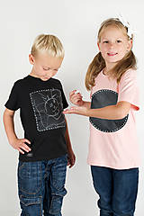 Detské čierne tričko - odkaz vždy čerstvý - alebo tabuľa na tričku