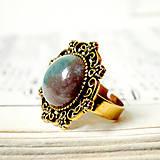 Prstene - Vintage Gold & Indian Agate / Prsteň s indiánskym achátom v starozlatom prevedení - 7274550_
