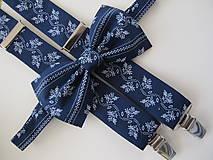 - Pánsky motýlik a traky- set z modrotlače - 7273195_