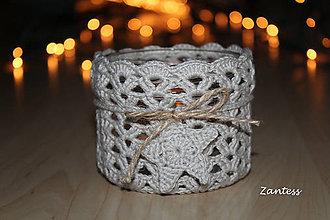 Svietidlá a sviečky - Háčkovaný svietnik